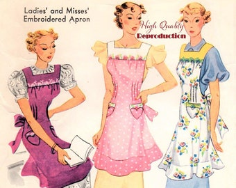 McCall 407 Vintage 1930s Misses' and Ladies Apron Reproduction Sewing Pattern