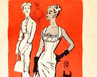 Prominent Designer M235 Misses' Vintage 1950s Bombshell Wiggle Dress and Jacket Sewing Pattern