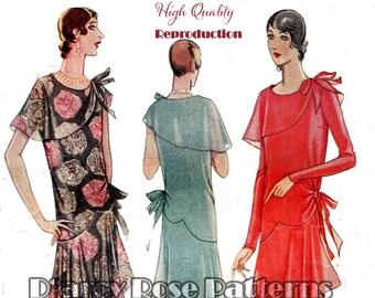 Vintage 1920s Asymmetrical Bertha Collar Flapper Evening Dress Reproduction Sewing Pattern