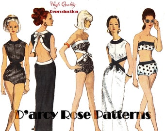 Vintage 1960s Playsuit, Bathing Suits and Patio Dress Reproduction Sewing Pattern