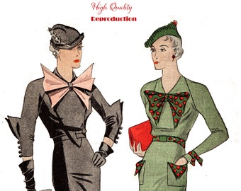 Misses' Vintage 1930s Afternoon Frock Reproduction Sewing Pattern