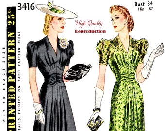 Misses' Vintage 1940s Afternoon or Evening Dress Reproduction Sewing Pattern