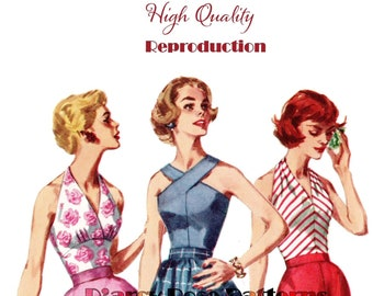 Vintage 1950s Marilyn Monroe Style Set of Halter Tops Reproduction Sewing Pattern