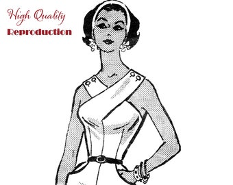 1950s Cross Front Wiggle Dress Vintage Sewing Pattern Reproduction