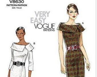Vogue V8630 Misses' Easy Options Slim Fitting Dress with Off Shoulder Collar Sewing Pattern
