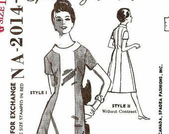 Vintage Sewing Pattern Spadea NA-2014 Vintage 1960s A-Line Color Blocked Dress American Designer