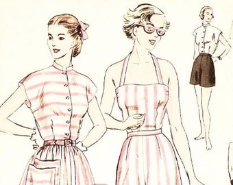 Vogue 6434 Vintage 1940s Halter Top, Skirt and Shorts Sewing Pattern Sz 18