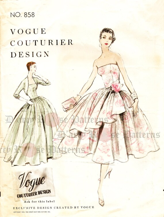 Vogue 858 Evening Dress Sewing Pattern Vintage 1950s Ball Gown | Etsy