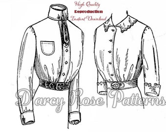PDF Vintage Early 1900s Misses' Blouse with Collar and Cuff Options Reproduction Sewing Pattern #6725