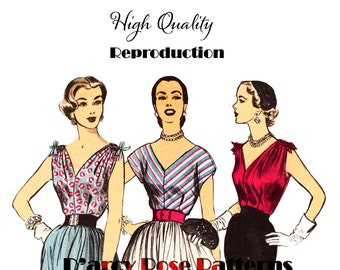 1950s Vintage Set of V Neck Blouses With or Without Drawstring Shoulders Day, Evening, Cocktail Reproduction Sewing Pattern