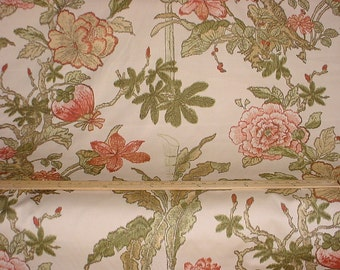 1-5/8 yards F Schumacher Singapore - Large Scale Exotic Floral Printed Cotton Upholstery Fabric - Free Shipping