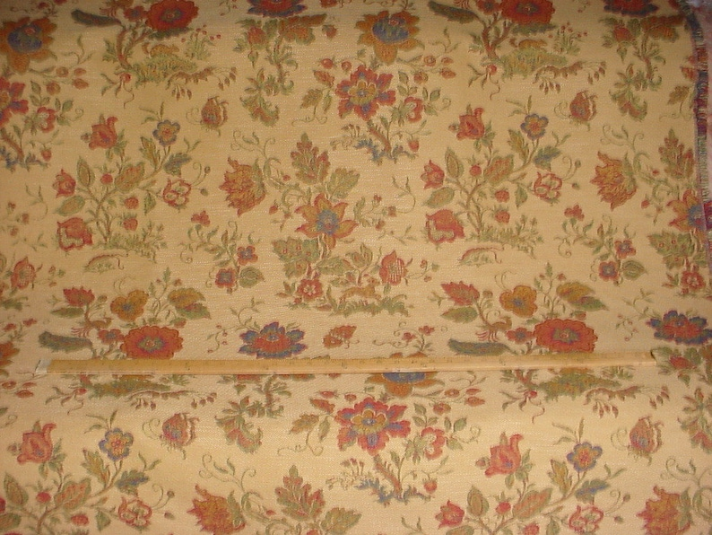 Decadent Chenille Brocade Upholstery Drapery Fabric Free Shipping 4-38 yards Kravet Couture 23233 Cheswick Garden in Golden Coin