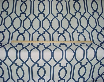 1-3/4 yards Lee Jofa / Groundworks GWF-3308.50 Gazebo in Navy - Luxury Trellis Linen Print Drapery Upholstery Fabric - Free Shipping