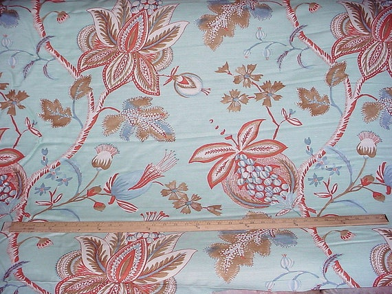 1 Yard Exquisite Thibaut F913003 Donegal In Seafoam Large Scale Floral Luxury Printed Linen Upholstery Fabric Free Shipping
