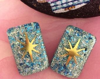 Atomic Stars and Glitter Lucite Earrings