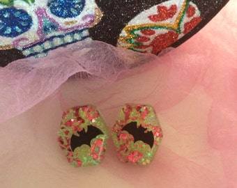 Halloween Bats and Glitter Lucite Earrings