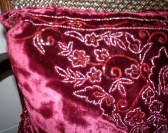 "Luxurious Velvet Bead Decorative Pillow Fringe Maroon Floral Designer Boudoir Embroidered Decor Burgundy Berry NEW 16"" Iridescent soft plush"