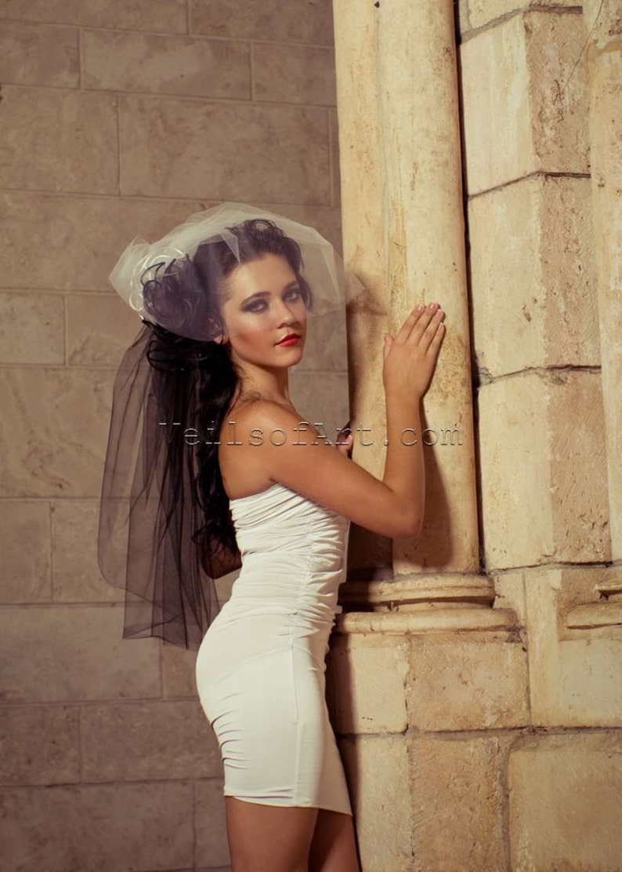 Gothic Halloween Designer 2 Tier Bow Elbow Length Bridal Veil image 0