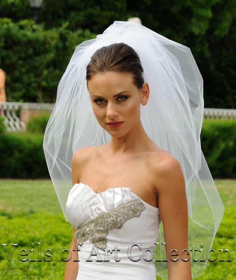 3T Bubble Elbow Bridal Veil  Wedding Veil Cut Edge VE308 image 0