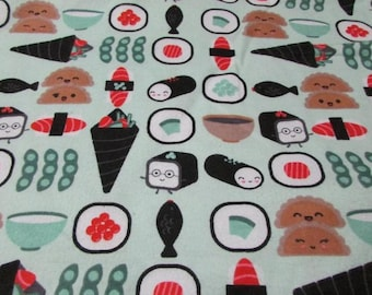 1/2 yard SUSHI print fabric, 100% cotton FLANNEL  fabric by the yard, fabric for masks