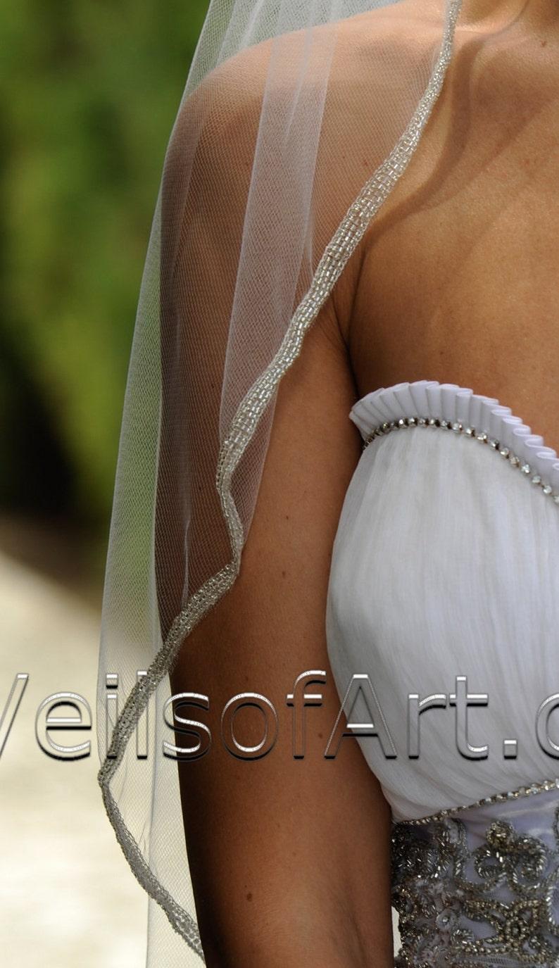 Designer One Tier Embroided Bridal Wedding Veil Fingertip Style VE306 NEW CUSTOM VEIL