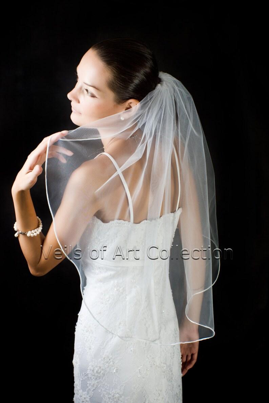 1T Elbow/Waist Bridal Wedding Veil 1/8 Satin Cord Trim image 0