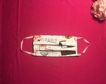 Designer Face Mask  Cutest on Etsy, Paris Print Mask,  Reusable Face Mask, Soft Cotton Mask, Washable Mask