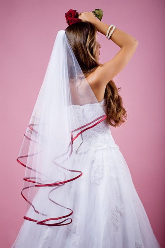 ivory NEW CUSTOM VEIL 2T Fingertip Bridal Wedding Veil 18 Black Satin Cord Trim VE221 white