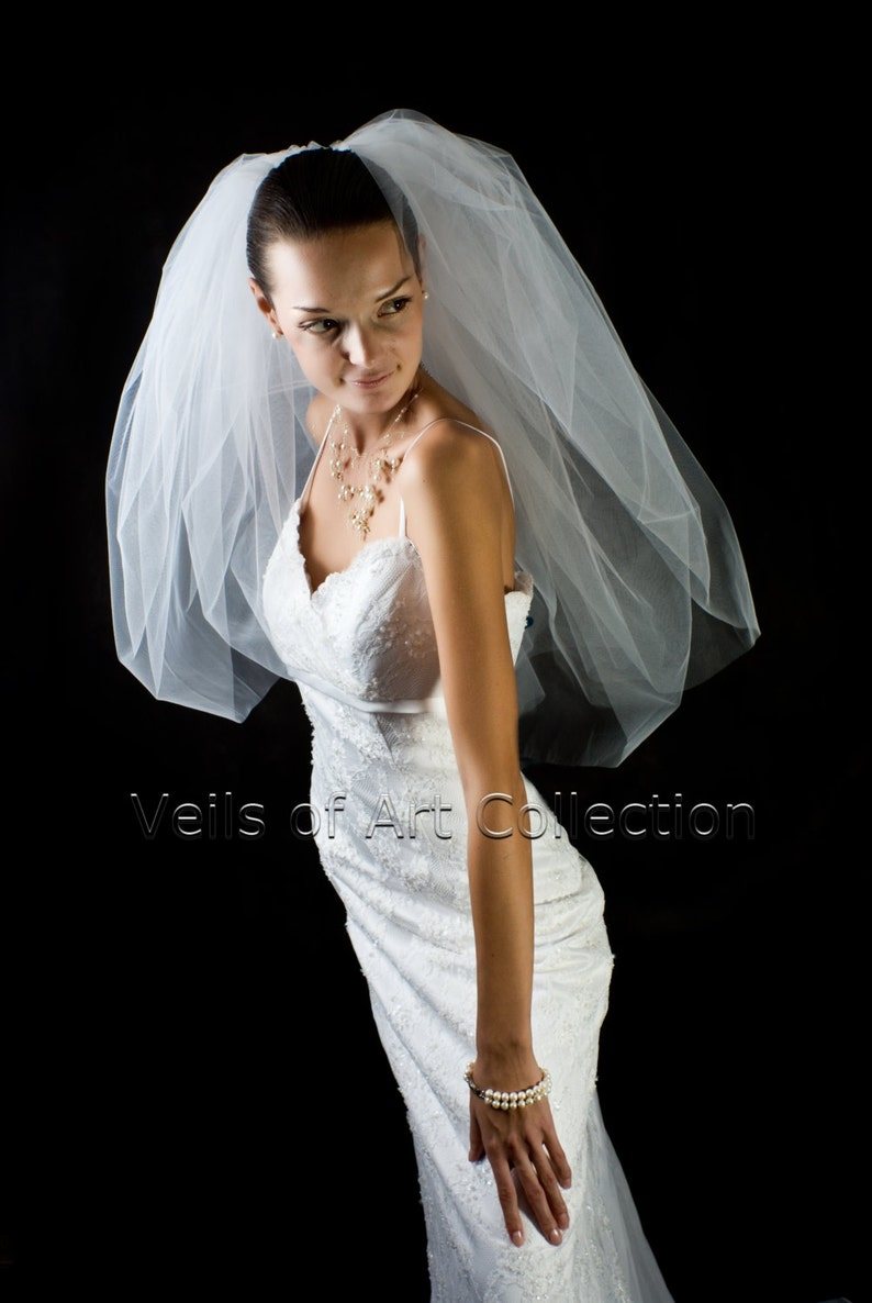 NWT 2 Tier Elbow Length BUBBLE Veil Extra Full Style VE701 image 0
