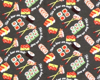 1/2 yards SUSHI print fabic, 100% cotton FLANNEL  fabric by the yard, fabric for masks