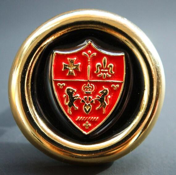 Vintage Black and Red Enamel Heraldic Coat of Arms