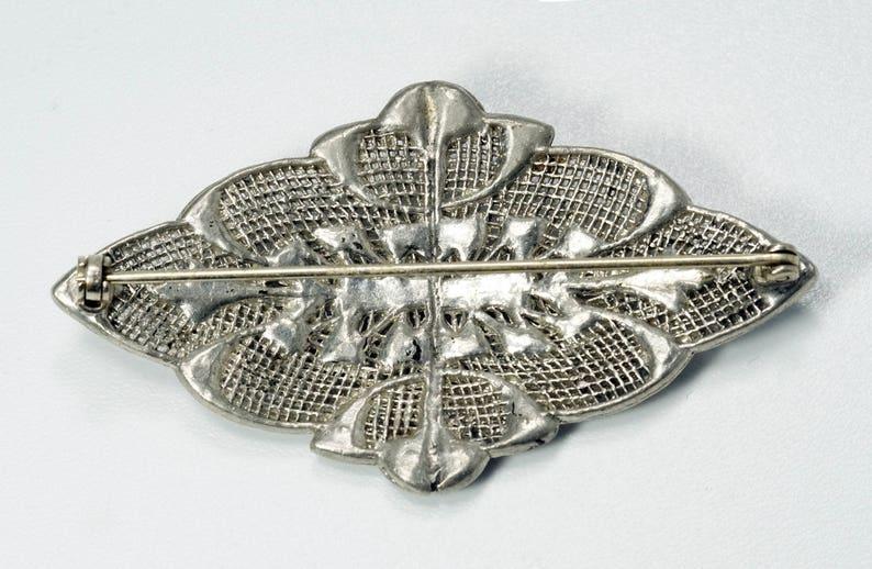 Art Deco Brooch Vintage Art Deco Pot Metal Rhinestone Paste Brooch Pin Rhinestone Brooch Silver Brooch Pot Metal Brooch Diamante Brooch