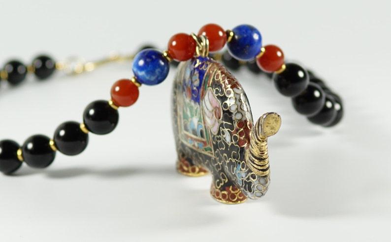 Cloisonne Elephant Necklace Vintage Onyx Lapis Carnelian Bead Necklace w Cloisonne Enamel Elephant Pendant
