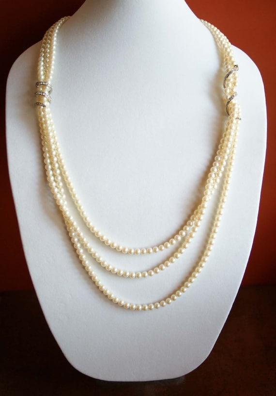 Carolee Necklace, Pearl Necklace, Multi Strand Pea