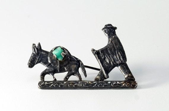 Silver Donkey Pin, Donkey Pin, Donkey Jewelry, Col