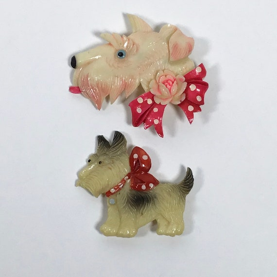 Celluloid Jewelry, Celluloid Brooch, Scottie Dog J