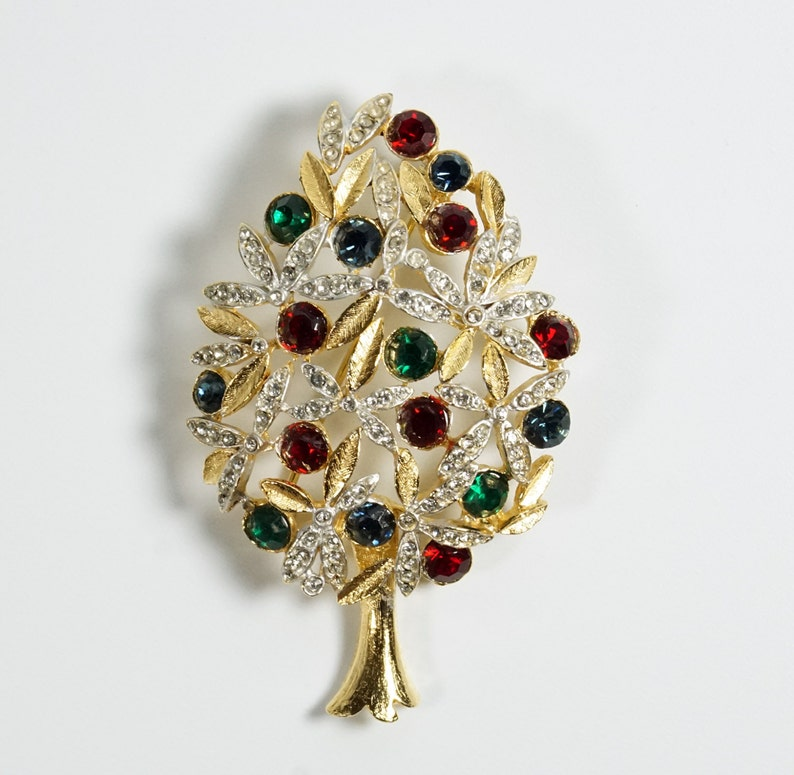 Sphinx Christmas Tree Pin Brooch Vintage Sphinx of England A1266 Crystal Christmas Tree Pin Brooch Book Piece Christmas Tree Pin
