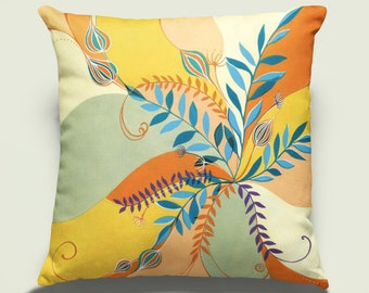 PAIR of 'Fern /& Dragonfly' Linen Cushion Covers Vanessa Arbuthnott Zipped