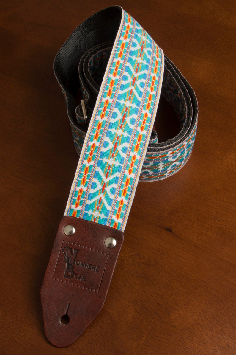Turquoise/White Vintage-styled Guitar Strap image 0