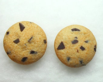 Little realistic chocolate chip cookie polymer clay stud earrings