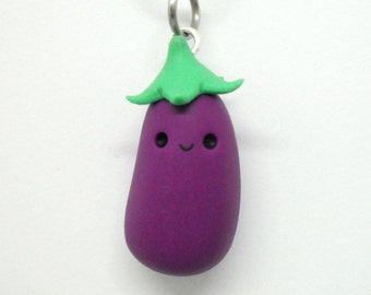 Cute eggplant polymer clay charm - stitch marker - necklace