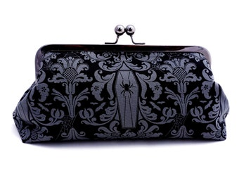 Witch Clutch | Halloween Wedding Clutch | Goth Bride Clutch | Haunted House Purse | Bridesmaid Gift | Witches Ball | Black Clutch