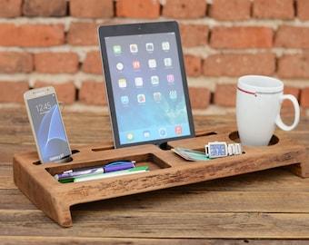 Wooden Desk Organizer, Office organizer, Phone station, Solid wood iPhone holder, Desk accessories, Office storage, Gift for him