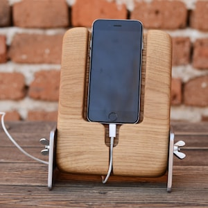 Wooden iPhone 6 stand Wood charging dock Woodworking gifts Husband gift Phone holder iphone 7 plus iPhone desk holder Mobile stand