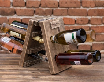 Wine rack, Personalized wine rack, 8-bottles wine rack, Wine shelf, Custom wine rack, Wedding gift, Riddling wine rack, Personalized gift