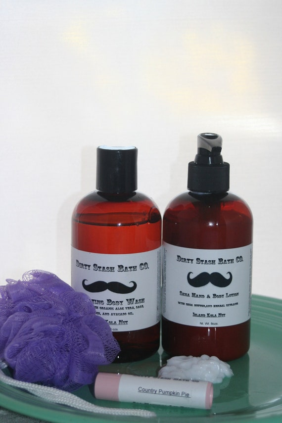Lotion & Body Wash Gift Set Pumpkin Cheesecake 8 ozs lip balm and puff included
