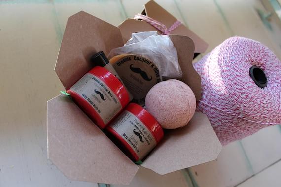 Takeout Spa Gift Set- Pick your scent-Organic Lotion, Foaming Sugar Scrub, Soap, Bath salts, Bath Bomb, Lip Balm