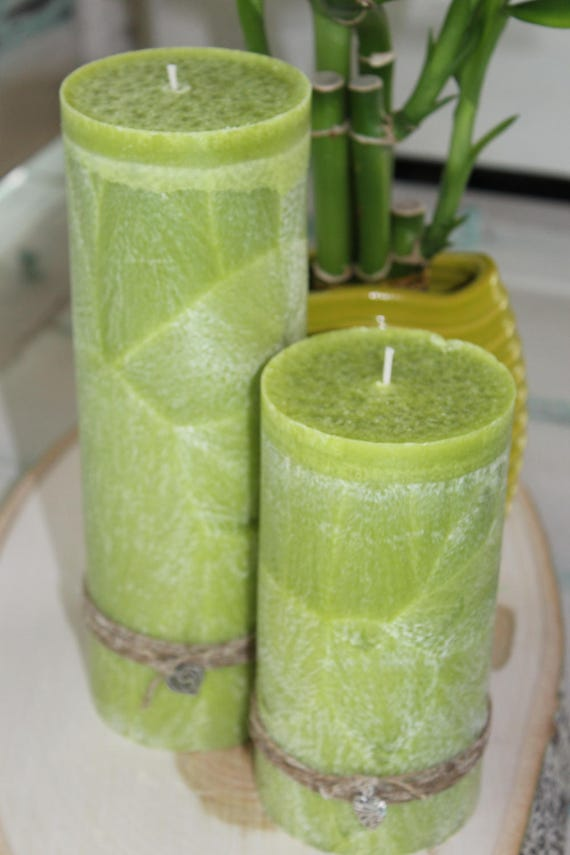 100% Palm Wax Pillar Candle Basil Sage & Mint Fragrance--Choose Size and Charm-- Sustainably Farmed