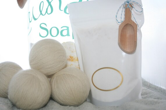 Gift set Goat Milk Laundry Soap and 3 Wool Dryer Balls with Lavender essential oil