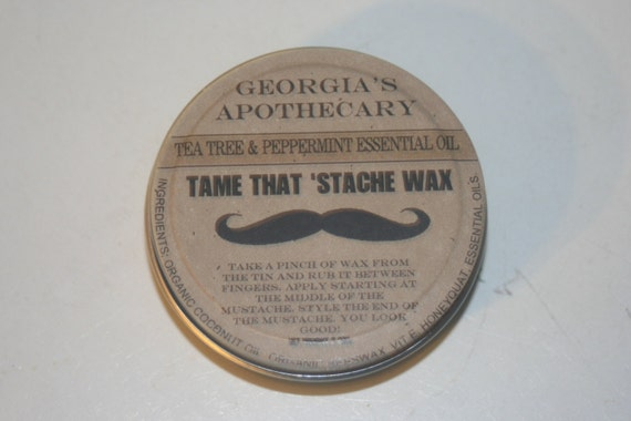 """Tame That """"Stache Wax-made with Organic ingredients- 2 oz Eucalyptus Spearmint essential oil"""